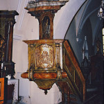 Church of St. Stephen, Štefanová, the pulpit before restoration (photo by Miroslav Šurin)