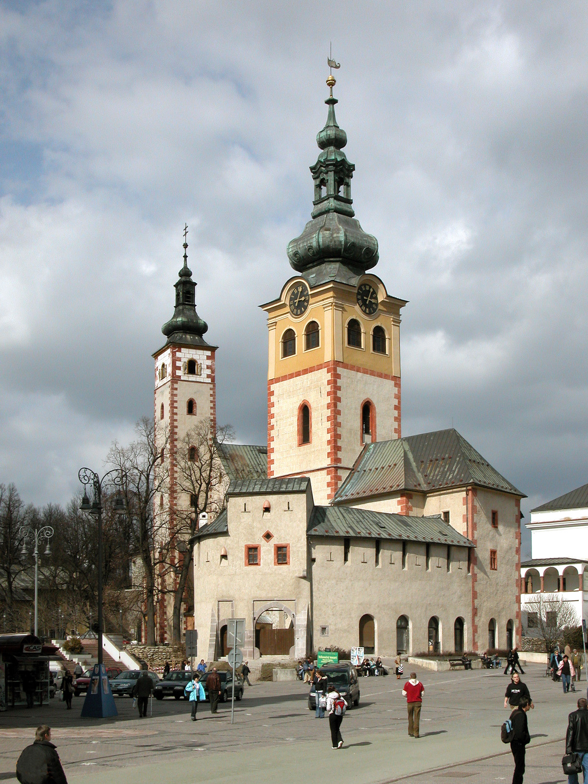 City castle and church in Banská Bystrica (Monuments Board of the SR Archives, photo by Peter Fratrič)