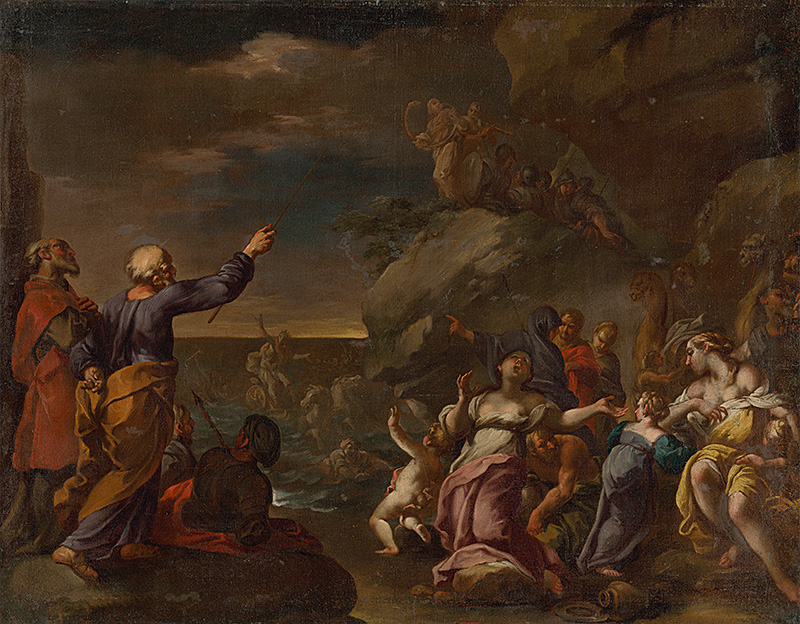 Paul Troger: Israelites crossing the Red Sea, 1700–1750 (source by The Slovak National Gallery Collections, http://www.webumenia.sk/dielo/SVK:SNG.O_5166)