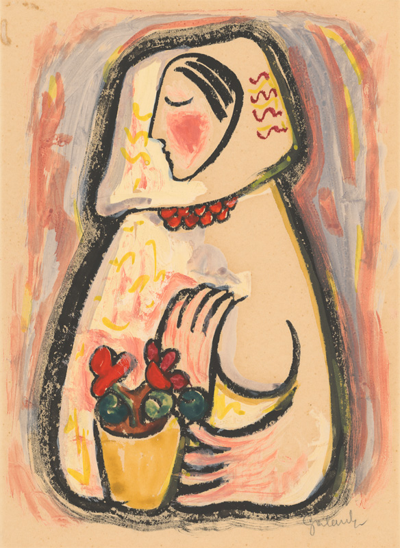 Mikuláš Galanda: Girl with a basket of flowers, 1937-1938 (source by Slovak National Gallery, http://www.webumenia.sk/dielo/SVK:SNG.K_6075)