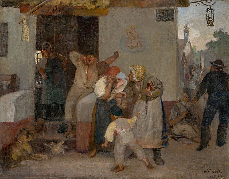 Dominik Skutecký: In front of the pub, 1873 (source by The Slovak National Gallery Collections, http://www.webumenia.sk/dielo/SVK:SNG.O_478)