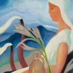 Zolo Palugyay: Girl in White with Factory Chimneys and Flowers, 1932 (source by Slovak National Gallery, http://www.webumenia.sk/dielo/SVK:SNG.O_645)