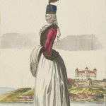 Sámuel Czetter: Lady and view of Bratislava from the south, 1790 (source: Bratislava City Gallery)